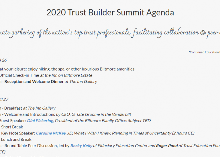 2020 Trust Builder Summit at Biltmore - Event Planning